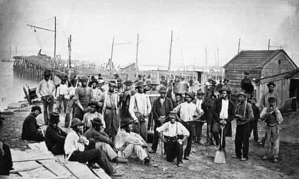 Fugitive slaves provide support to the Union war effort, Virginia c.1863.