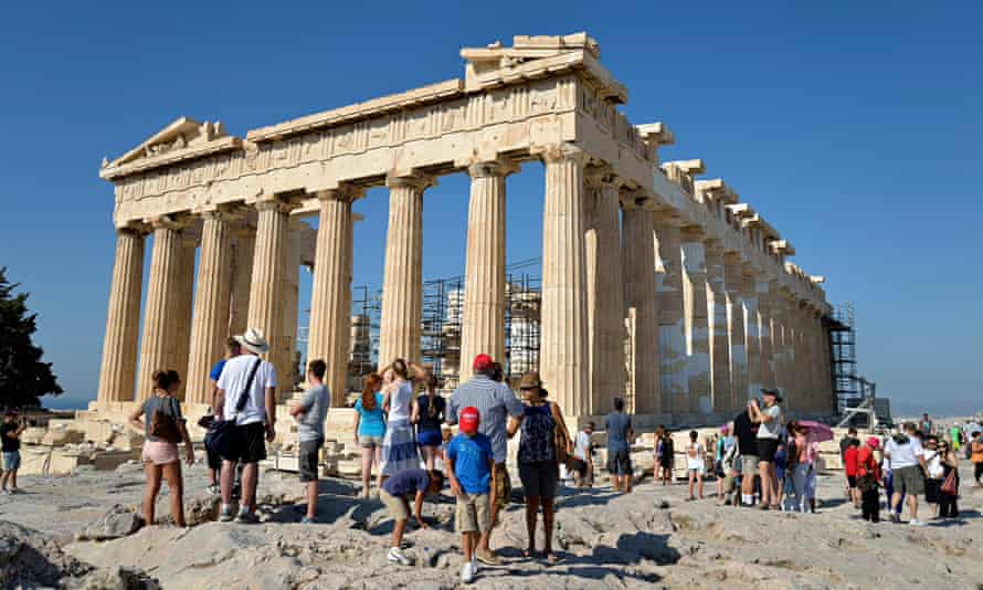 Tourists in Acropolis of Athens, Greece