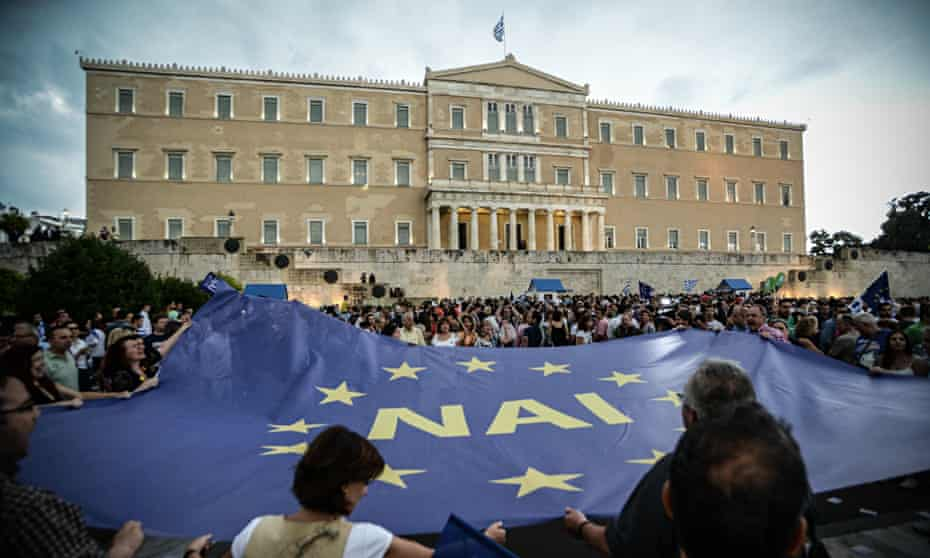 Protesters for a Yes vote in the Greek referendum