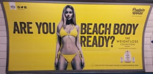 The Protein World advert in an underground station in London, which asked: 'Are you beach body ready?'