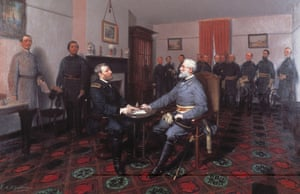 1867 painting by Louis Guillaume of General Lee, left, surrendering to General Grant at Appomattox Court House, Virginia.