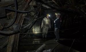 23/06/2015 Turkey.Zonguldak. A private mine. Miners Nedim Sevimzi and Murat Sahin in blue overalls.Photo Sean Smith