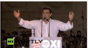 Greek prime minister Alexis Tsipras at the 'No' rally in Athens
