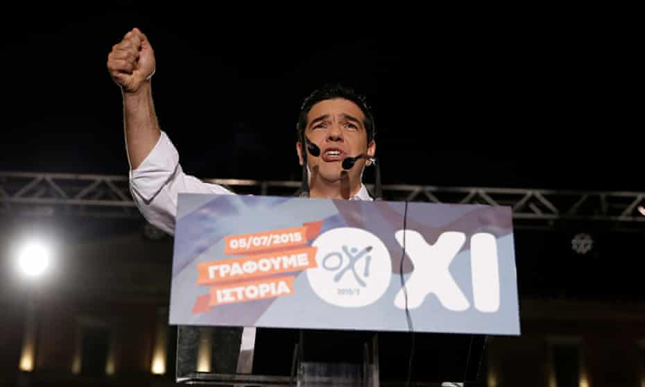 Alexis Tsipras campaigning for no vote in referendum