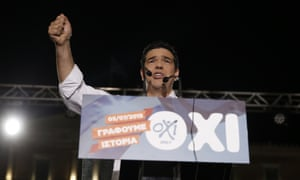 Greece's prime minister Alexis Tsipras delivers a speech during a rally organized by supporters of the no vote in Athens, 3 July.