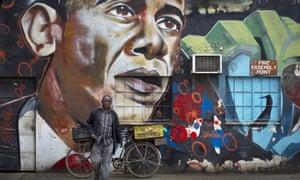 A mural of President Barack Obama by the Kenyan graffiti artist Bankslave at the GoDown Arts Centre in Nairobi, Kenya.