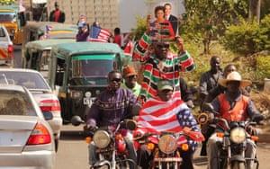 Motorbikers celebrate Obama's visit in Kisumu.