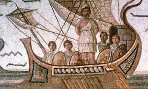 Roman 3rd century mosaic showing Odysseus tied to the mast of his ship to save him from sirens