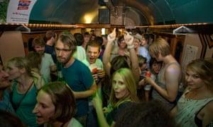 On a roll: the club coach inside the Melt! train