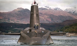 A British submarine armed with Trident nuclear missiles.