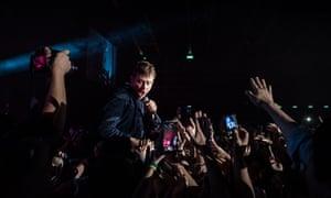 Albarn during Blur's Hong Kong concert.