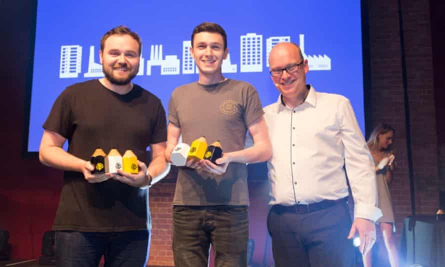 Tom Worthington and Greg Ormrod with D&AD president Mark Bonner.