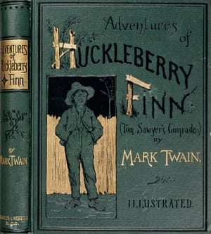 A embossed book cover for Adventures of Huckleberry Finn