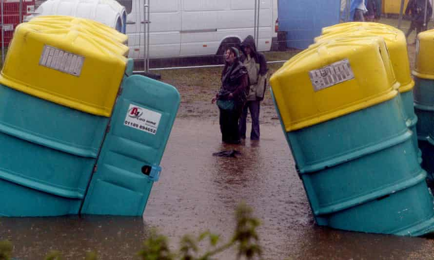That sinking feeling … Glastonbury festival-goers face a challenge going to the toilet.