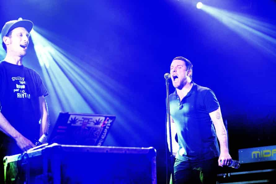 Andrew Fearn and Jason Williamson of Sleaford Mods perform on stage at Electric Ballroom, January 2015.