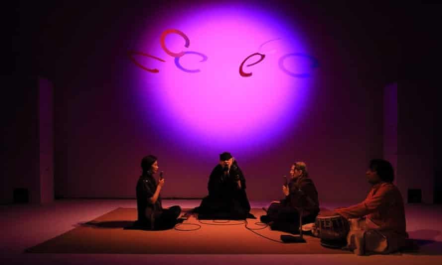 Jung Hee Choi, La Monte Young, Marian Zazeela, and Naren Budhkar at Dia Chelsea, 2015.