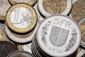 Coins of Swiss francs and euros in Zurich, Switzerland.