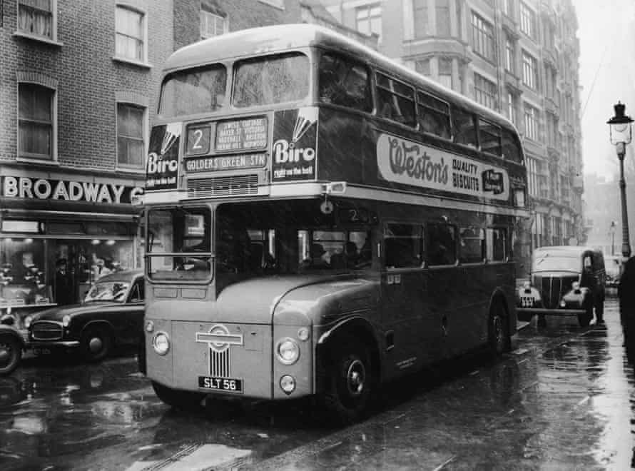 A prototype Routemaster bus at London Transport headquarters in January 1956.