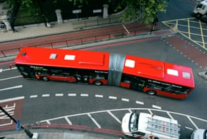 A bendy bus on the streets of London.