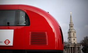 A new prototype red double decker bus.