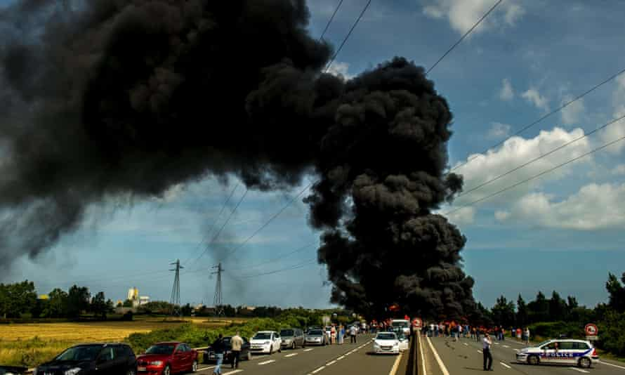 Access to the harbour at Calais is blocked by protesters on Friday.