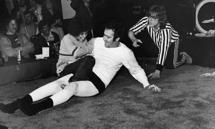 Performance art ... Andy Kaufman wrestles Lena Home in 1979