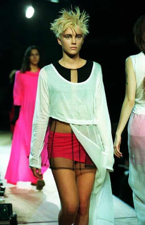 A model on the Yohji Yamamoto catwalk in 1994