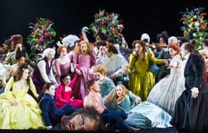 Iestyn Davies (David) and Sophie Bevan (Michal) in Saul by Handel @ Glyndebourne. Directed by Barrie Kosky. Conductor Ivor Bolton.(Opening 23-07-15) Tristram Kenton 07/15(3 Raveley Street, LONDON NW5 2HX TEL 0207 267 5550  Mob 07973 617 355)email: tristram@tristramkenton.comsaulglyndebournecrowebevanpurvesdaviesapplebyhulett