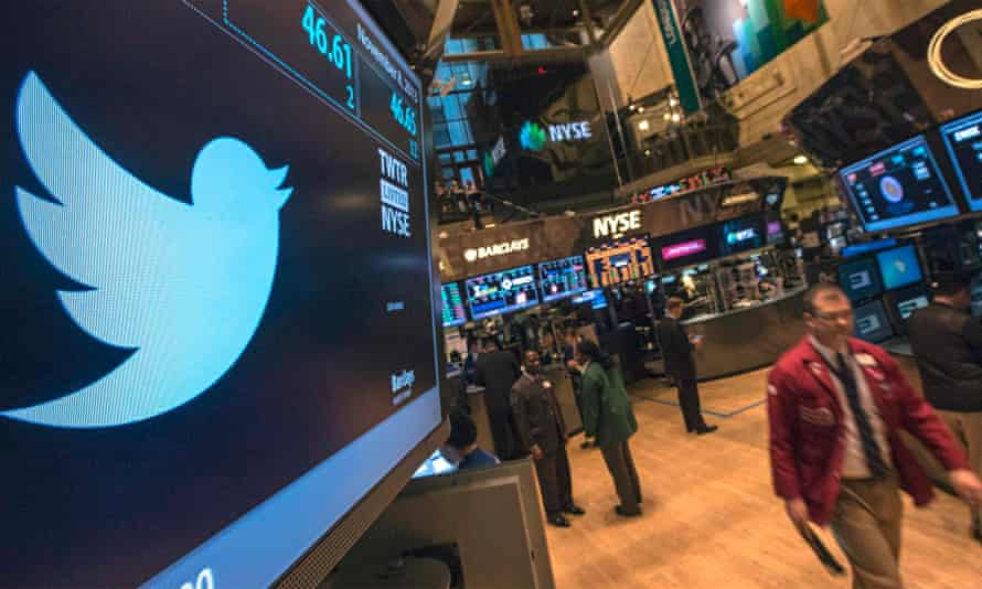 Twitter logo on a screen at New York Stock Exchange