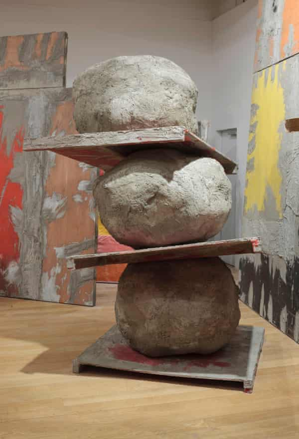 Untitled: stack, 2015 by Phyllida Barlow, made from plywood, timber, wire mesh, scrim, cement, sand, polyurethane foam, PVA and paint at the Fruitmarket Gallery.