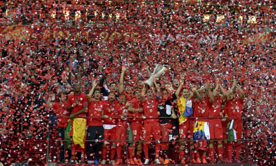 Sevilla celebrate their win in the Europa League final