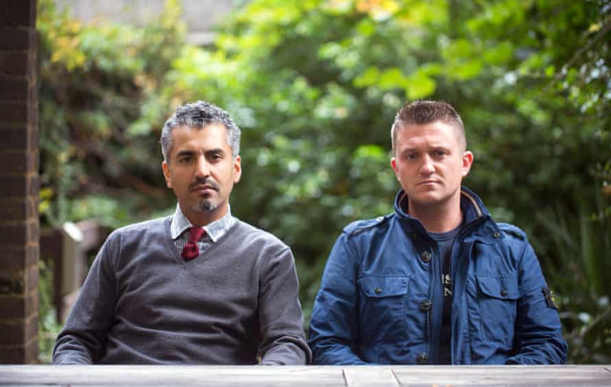Maajid Nawaz with former English Defence League leader Tommy Robinson.