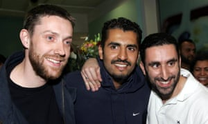 Maajid Nawaz with fellow Britons Ian Nisbet (left) and Reza Pankhurst (right), who were jailed with him in Egypt for membership of Hizb-ut-Tahrir.