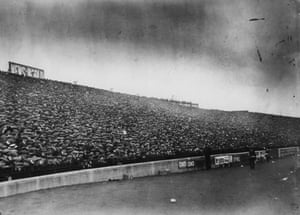 In 1904, Fulham were offered the first option on the Stamford Bridge ground, their refusal prompting the owner of the freehold, a building contractor named Gus Mears, to found a club of his own, Chelsea. Here, on 6 September 1913, a section of the crowd is photographed before the match between Chelsea and Tottenham Hotspur. Spurs won 3-1 in front of 65,000 spectators.