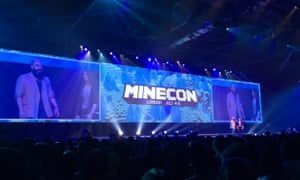 Vu Vui and Lydia Winters on-stage at Minecon.
