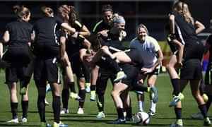 United States players warm up during a training session before the 2015 Fifa Women's World Cup final
