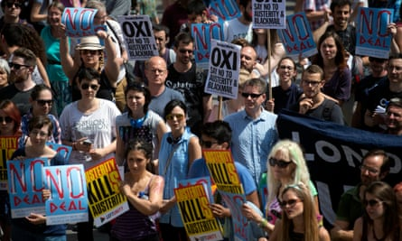 Protesters in Trafalgar Square, London, rally to urge Greek citizens to vote no (oxi) in the looming bailout referendum.