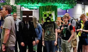Attendees at Minecraft's Minecon exhibition in the ExCeL Centre, London