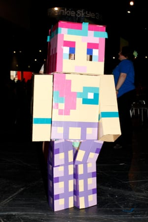 Francesca Stevens, aged 7, in her costume for the fancy dress contest at Minecon.