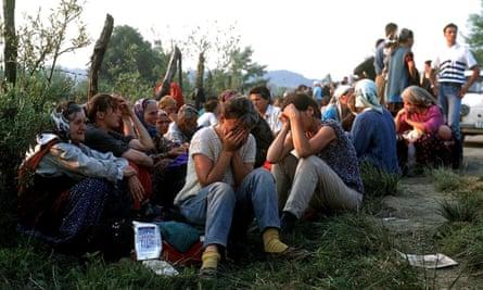 Muslim refugees on runway of Tuzla airport, Bosnia, fleeing Srebrenica in 1995.