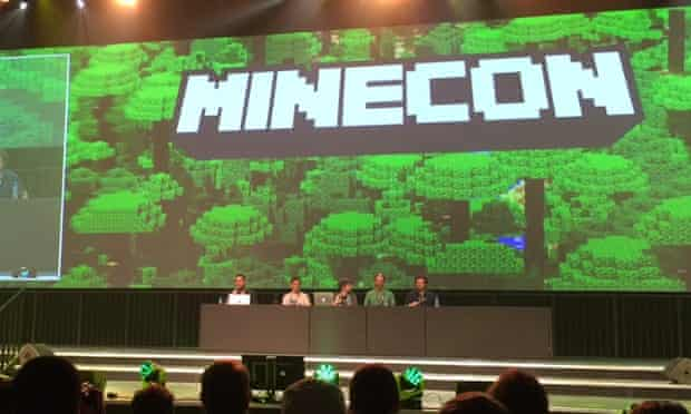 Mojang staff on stage at Minecon 2015.