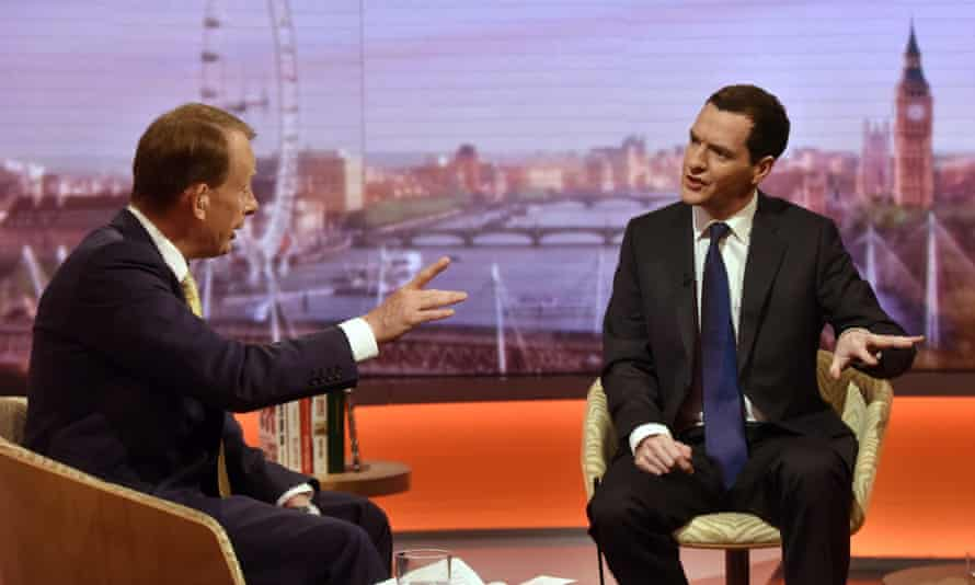 Andrew Marrand Chancellor George Osborne appearing on BBC One's The Andrew Marr Show.