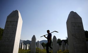 Workers at a memorial centre for Srebrenica massacre victims in Potocari 5 July. There will be events across the UK this week and an international ceremony at Potocari on Saturday to mark the 20th anniversary.