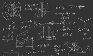 Physics diagrams and formulas chalk handwriting on blackboard.