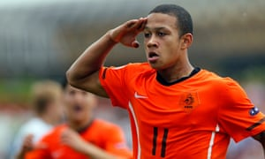Memhis Depay celebrates scoring for Holland Under-17s against Serbia in May 2011.