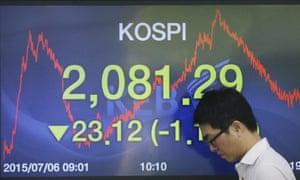 The Korea Composite Stock Price Index in Seoul.
