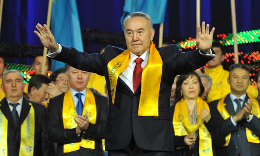 Kazakh president Nursultan Nazarbayev greeting supporters during a celebration rally at a sports centre in Astana.