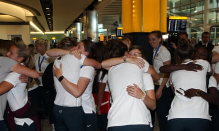 A few farewell hugs from the England team – but the Women's Super League is only days away
