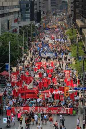 """More than 10,000 people in Toronto, Canada march for """"Jobs, Justice, and Climate Action"""" on July 5, 2015."""