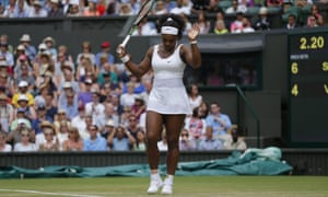 Serena celebrates as she beat Venus in two sets.